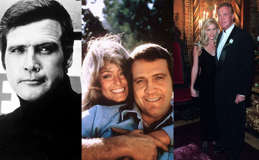A portrait of Lee Majors when he was young / Lee majors and Farrah Fawcett hugging and smiling / Lee and Faith Majors when they are older hugging and smiling
