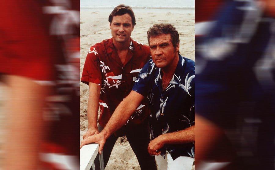 Doug Barr and Lee Majors wearing Hawaiian shirts