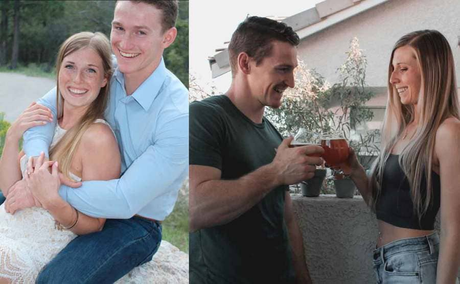 Logan Brown and his fiancé Michelle posing after their engagement / Logan and Michelle toasting with a beer
