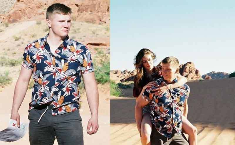 Kodi's son Garrison posing in a Hawaiian shirt in the desert / Garrison posing with his girlfriend on his back