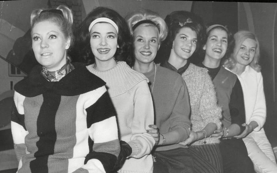 Models Of The Top Twenty Model Competition At The Queen's Ice Skating Rink Queensway Bayswater. L-r: Christina Browne Vivian Peters Lesley Hill Joan Lofthouse Susan Ford And Betty White.
