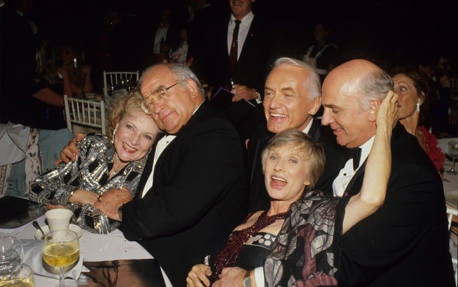 Ed Asner Betty White, Ed Asner, Ted Knight, Gavin Macleod, and Cloris Leachman