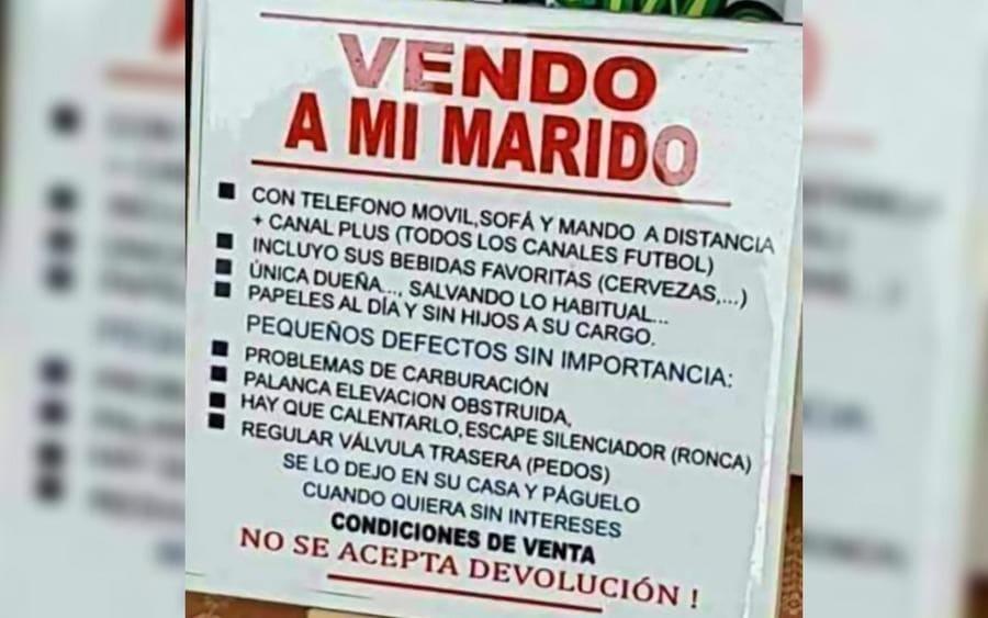 Un letrero de se Vende Marido, con una lista de extras incluidas en la oferta