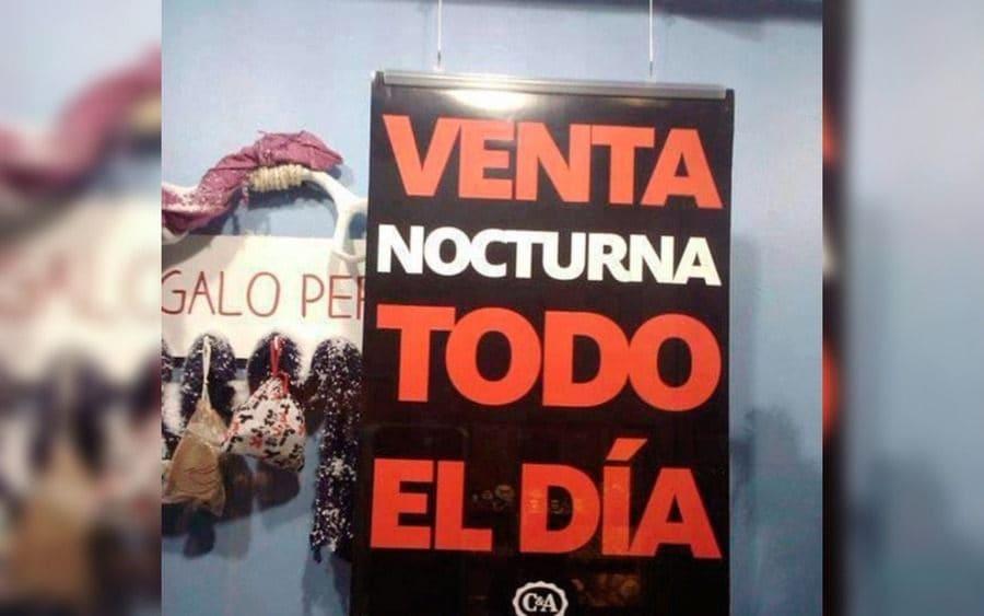 Letrero que lee: Venta Nocturna todo el día