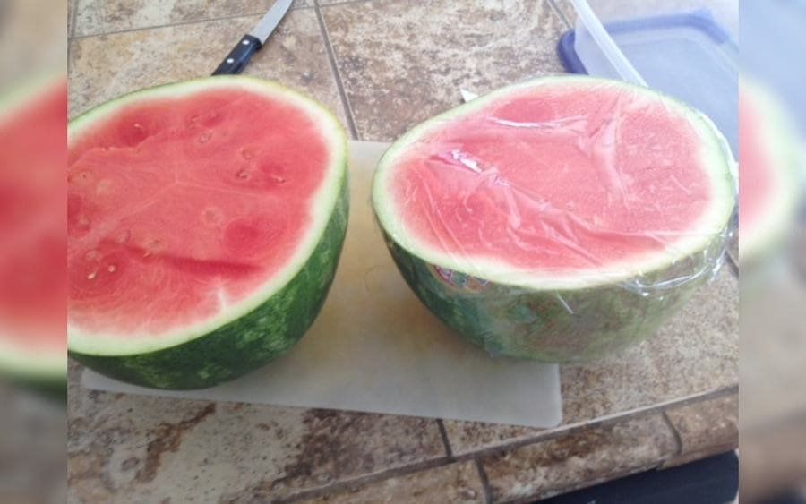 Watermelon wrapped in plastic