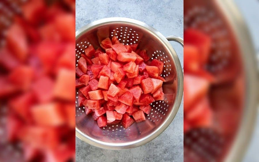 A watermelon cut in pieces