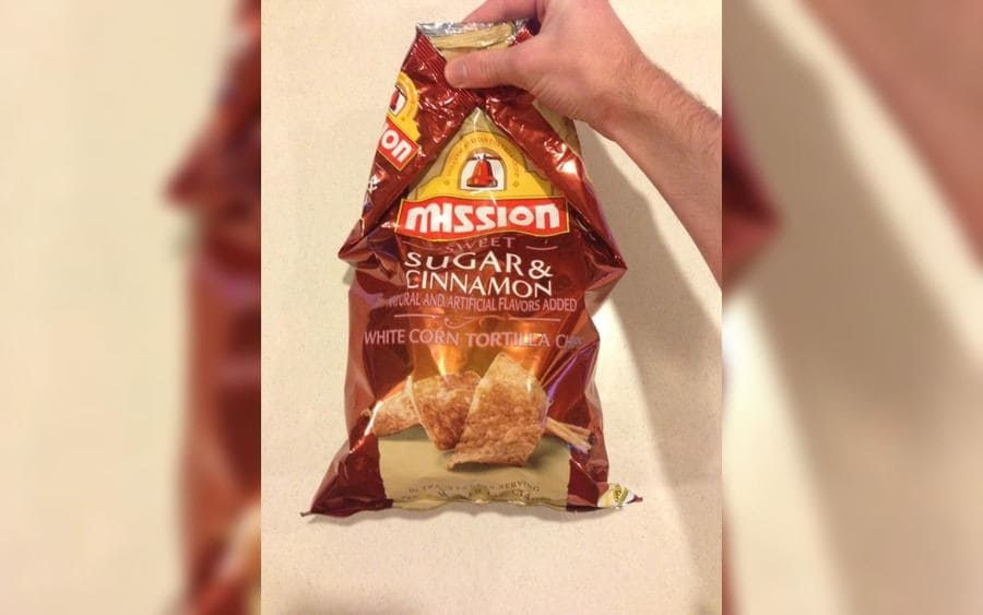 Bag of chips folded