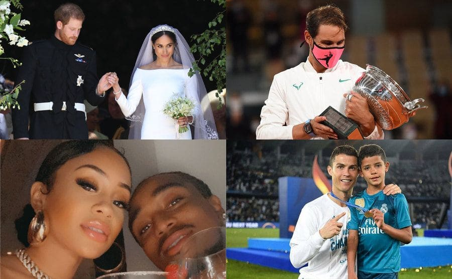 Meghan Markle on her wedding day being led out of the Church / Rafael Nadal holding his trophy while wearing a mask at a recent match / Quavo and Saweetie having a cheers while taking a selfie / Cristiano Ronaldo on the field with his son holding his medal