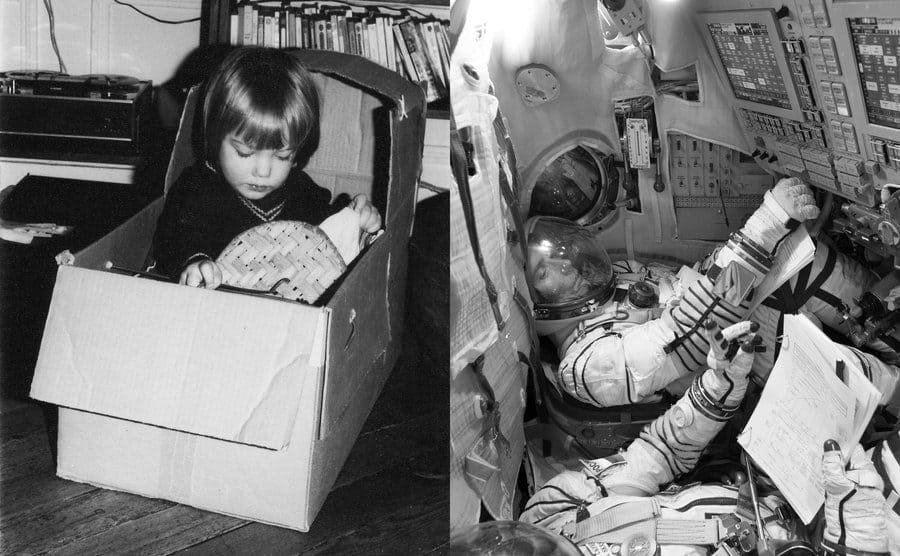 Thomas Pesquet as a young boy playing in a cardboard box / Thomas Pesquet in his astronaut suit in the control room looking over a stack of papers