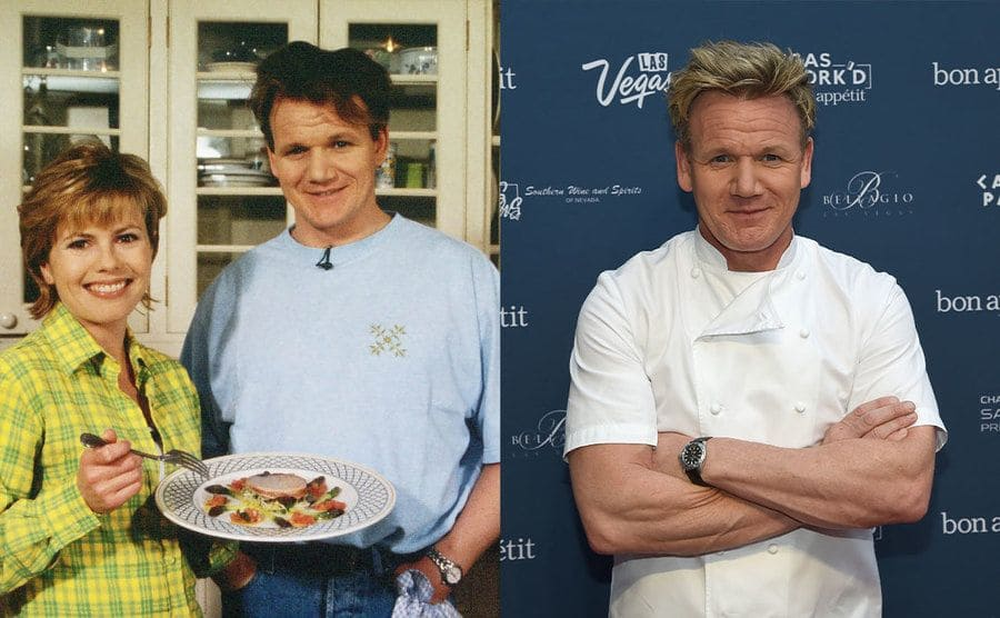 Liz Earle holding a plate of food standing next to Gordon Ramsay in the kitchen / Gordon Ramsay posing on the red carpet with his arms crossed
