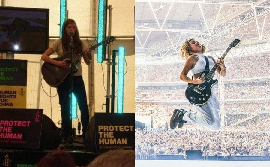 Ellie Goulding on stage performing when she was younger / Elli Goulding mid-jump holding her guitar in front of a stadium full of people