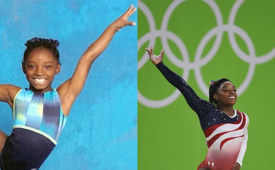 Simone Biles as a young girl in a leotard holding her leg up / Simone Biles in a pose in front of a green sign with the Olympics five-ringed logo
