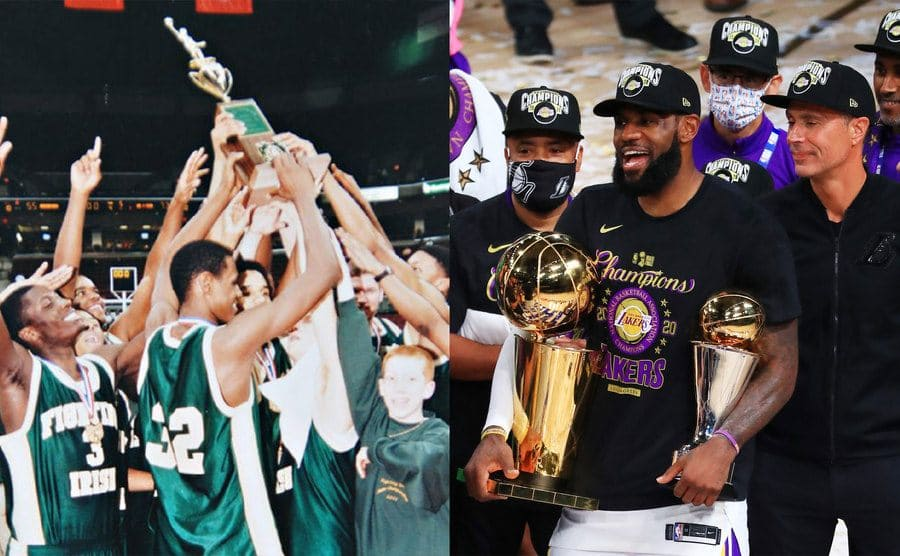 LeBron James at a high school basketball game holding up a trophy with his team members / LeBron James holding his MVP trophy and the Finals trophy