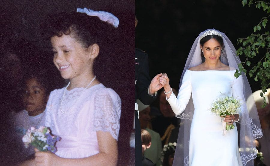 Meghan Markle in a white dress holding small purple flowers as a young girl / Meghan Markle on her wedding day being led out of the Church