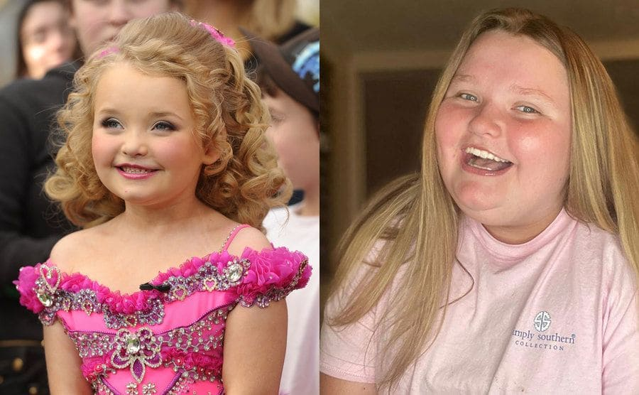 Honey Boo Boo as a young girl in a hot pink off the shoulder dress with her hair done up in curls / Honey Boo Boo as she got older posing in front of the camera at home
