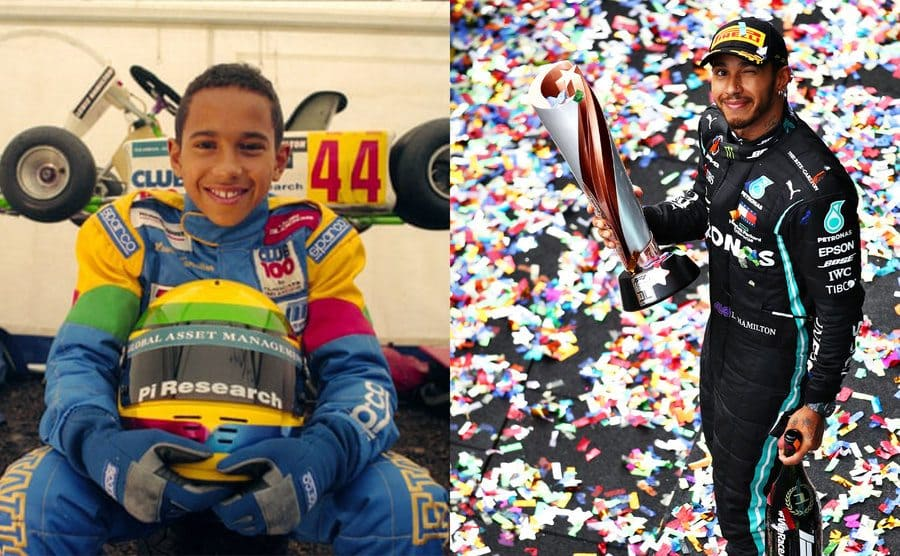 Lewis Hamilton as a young boy posing in front of his go-kart / Lewis Hamilton holding a Championship trophy in 2020