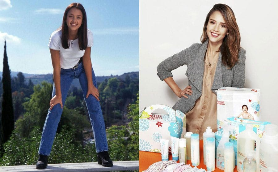 Jessica Alba posing in jeans and a white t-shirt with platform boots in front of a forest view in the '90s / Jessica Alba posing in front of baby wipes, diapers, and lotions