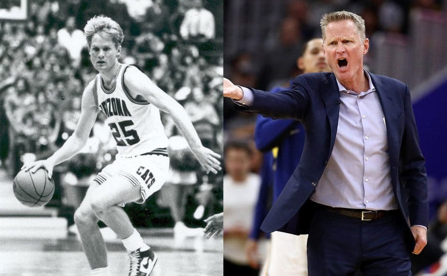 Steve Kerr dribbling the ball on the court in college / Steve Kerr yelling with his palm out on the court as a coach