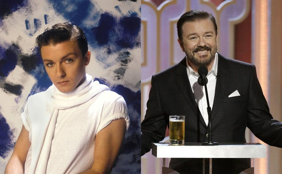 Ricky Gervais posing in front of a blue and white painted backdrop in 1983 / Ricky Gervais standing behind the podium at the Golden Globes Awards