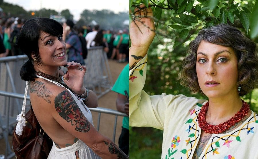 Danielle Colby looking over her shoulder at an event / Danielle Colby holding onto a tree branch with green leaves posing for the camera