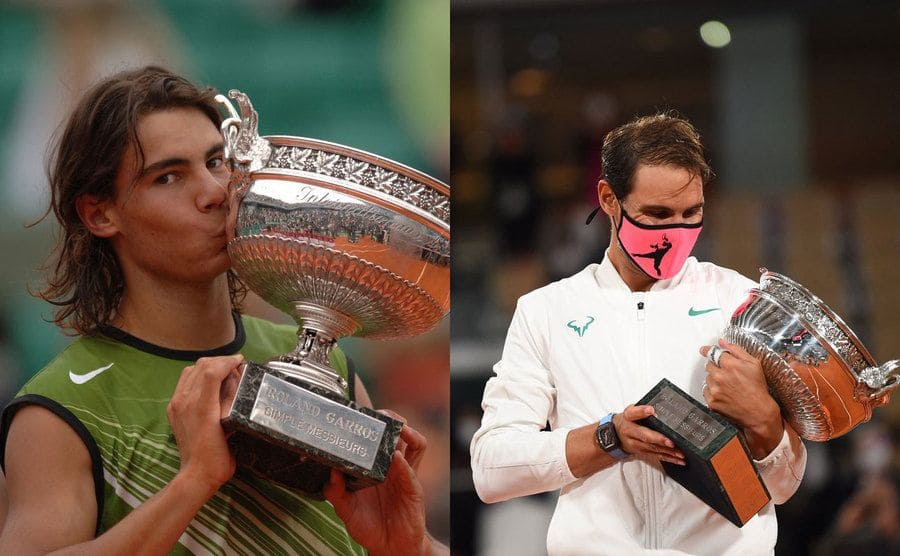 Rafael Nadal kissing his trophy when he was younger / Rafael Nadal holding his trophy while wearing a mask at a recent match