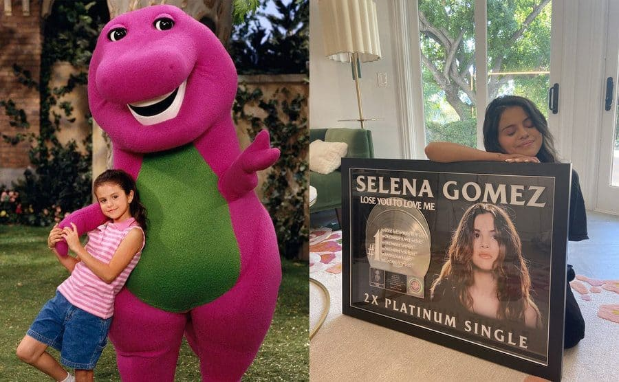 Selena Gomez as a young girl posing with Barney in a yard / Selena Gomez posing with her eyes closed next to her frame two-time platinum single for 'Lose You to Love Me.'