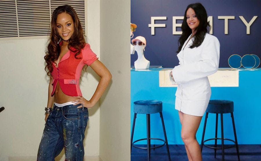 Rihanna in a crop top blazer and jeans when she was younger / Rihanna in a white suit jacket in front of a sign for her Fenty brand