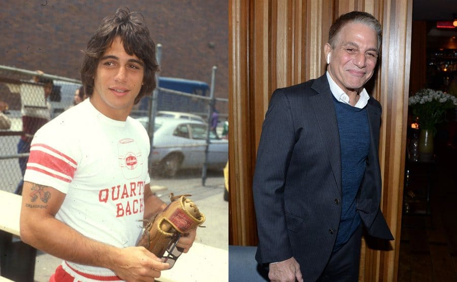 Tony Danza at a celebrity baseball game when he was younger / Tony Danza at an event in 2020 with his right air pod in his ear