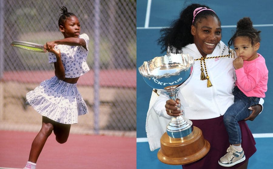 Serena Williams on the tennis court when she was a young girl in 1992 / Serena Williams holding a trophy and her daughter after a final match in 2020