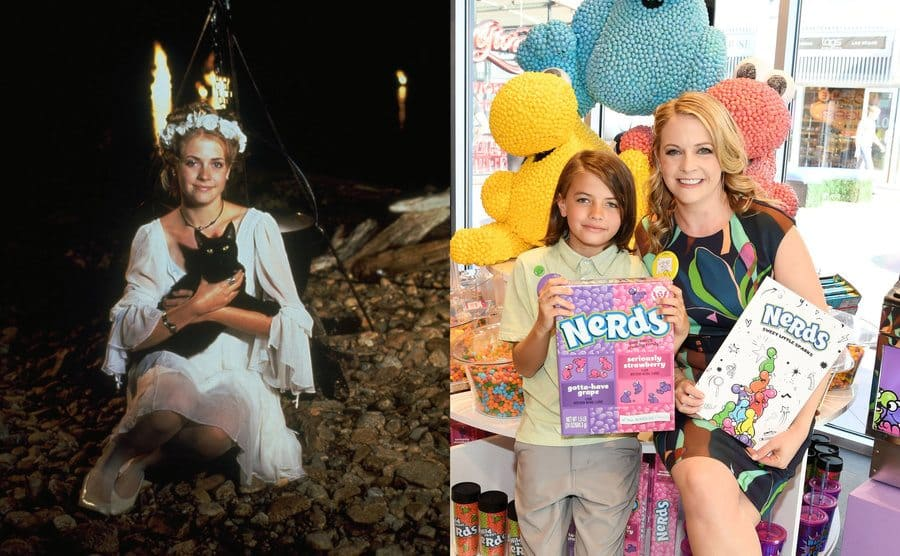 Melissa Joan Hart as Sabrina the Teenage Witch holding her black cat Salem in front of a cauldron / Melissa Joan Hart with her son Tucker holding extra-large Nerds candy boxes