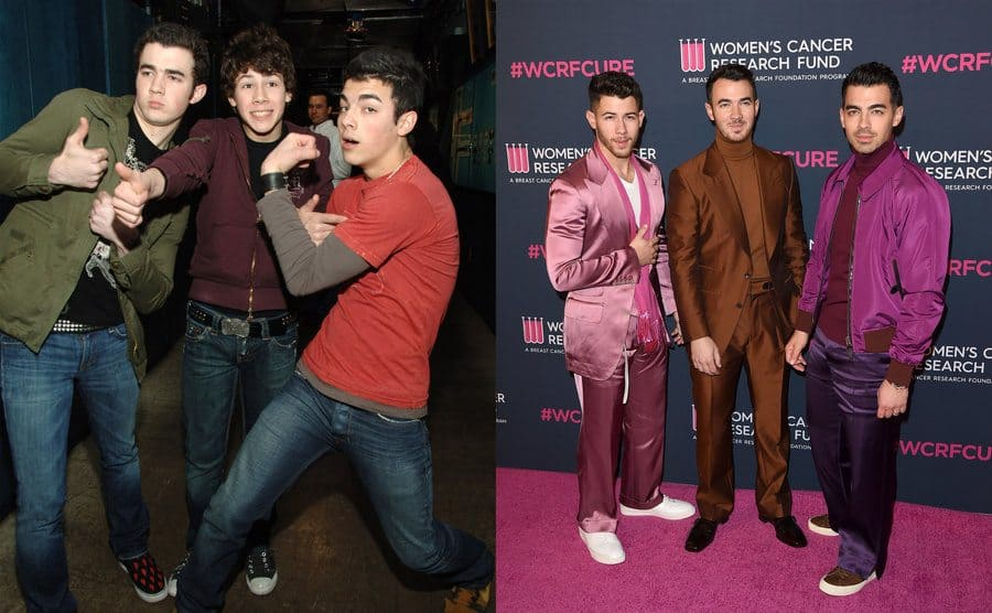 The Jonas Brothers backstage in the TRL studio in 2006 / The Jonas Brothers posing on the red carpet in pink and brown clothing for a Women's Cancer Research Fund in 2020