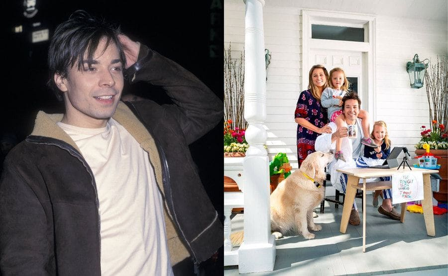 Jimmy Fallon scratching his head at a wrap party for SNL / Jimmy Fallon with his family and dog on the front porch
