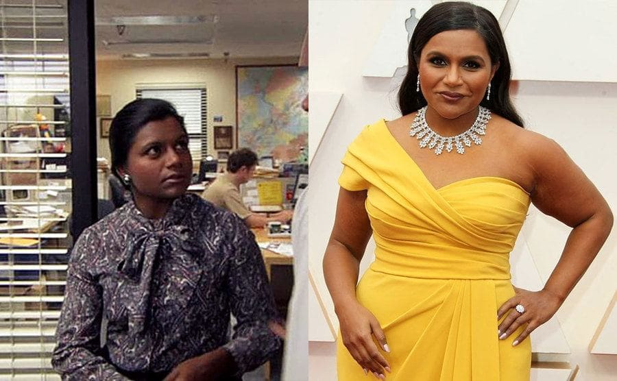 Mindy Kaling in a scene from The Office / Mindy Kaling in a yellow dress on the red carpet