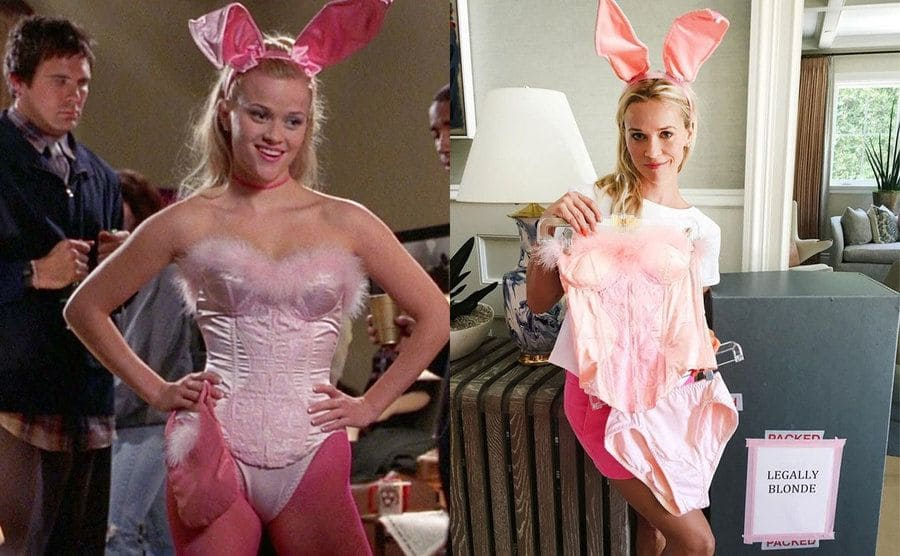 Reese Witherspoon as Elle Woods in the bunny costume at a party / Reese Witherspoon with the bunny outfit next to a sign taped onto a box that says Legally Blonde