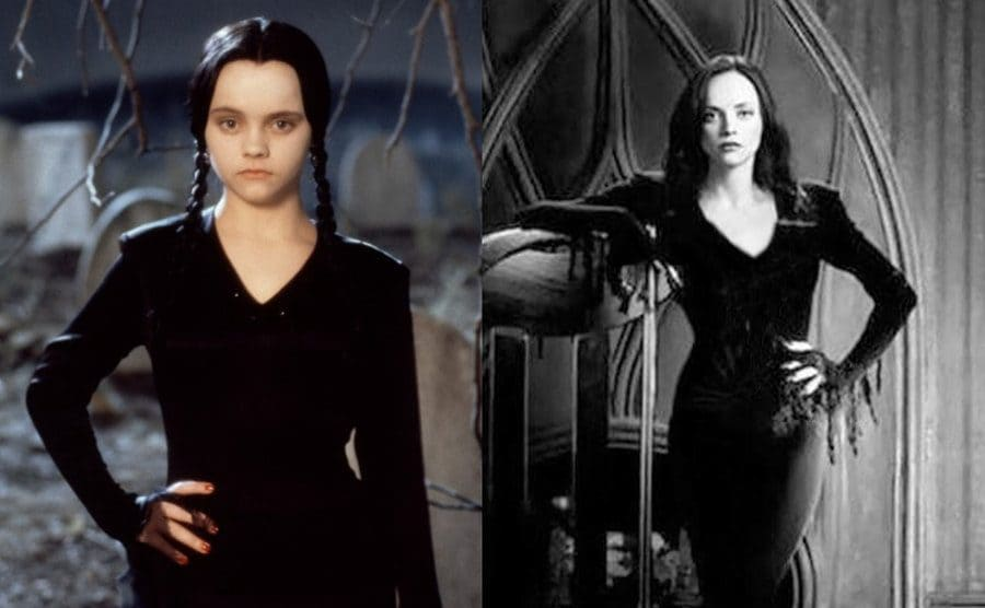 Christina Ricci in the graveyard with her jet black ponytails and long dress / Christina Ricci with Morticia's long skinny dress on