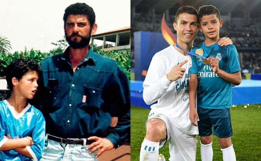 Cristiano Ronaldo with his father when he was younger / Cristiano Ronaldo on the field with his son holding his medal