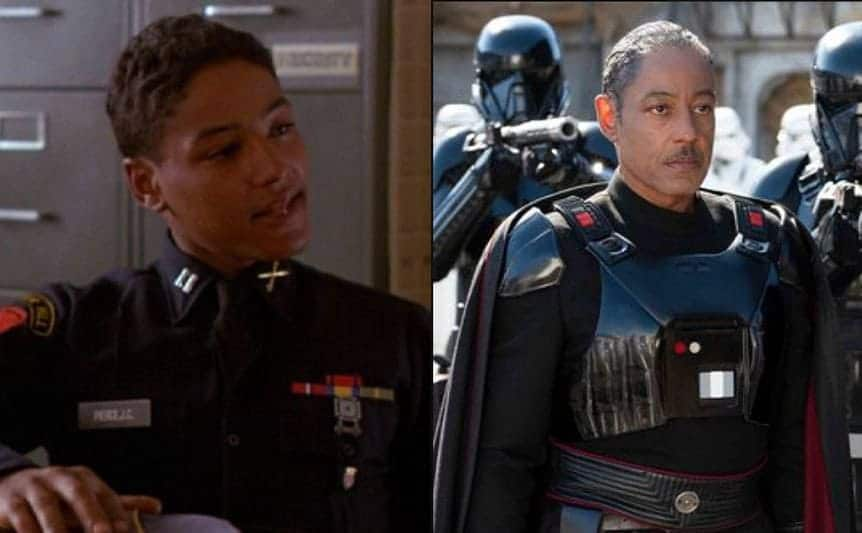 Giancarlo Esposito as an officer sitting in a filing room / Giancarlo Esposito in the Mandalorian