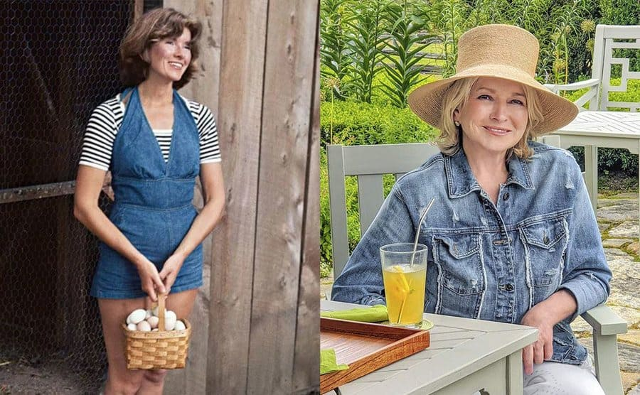 Martha Stewart holding a basket of eggs by a barn door / Martha Stewart sitting in a garden at a grey wooden table with juice