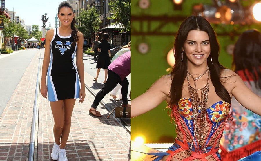 Kendall Jenner in her cheer uniform in 2011 / Kendall Jenner walking down the runway in blue and orange corset