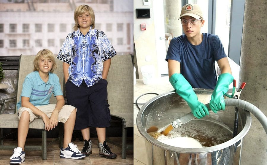 Cole and Dylan Sprouse posing on hotel furniture / Dylan Sprouse pouring honey out of a large hose into a large pot