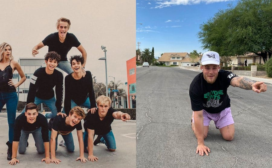 Jake Paul on the bottom of a human pyramid pointing / Jake Paul alone in the street recreating the photograph alone, kneeling and pointing