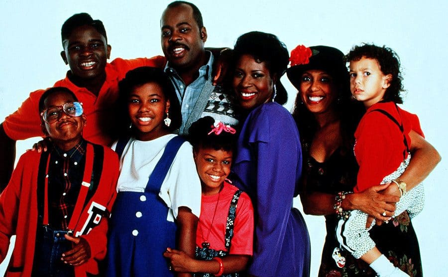 Jaleel White, Darius McCrary, Kellie Shanygne Williams, Reginald Veljohnson, Jo Marie Payton-Noble, and Jaimee Foxworth posing together in a promotional photograph for Family Matters