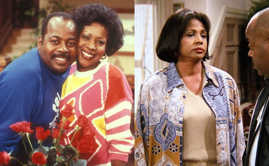 Reginald Vel Johnson and JO Marie Payton-France next to a bouquet of red roses in Family Matters / Judyann Elder talking to Reginald Vel Johnson in a scene from Family Matters