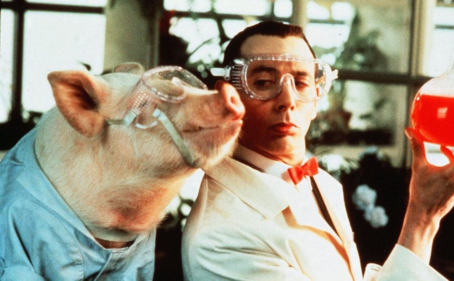 Pee Wee Herman in the science lab with a pig wearing a lab coat in a scene from Big Top Pee-Wee 1988