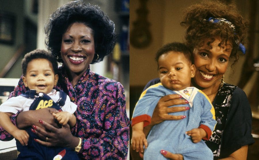 Jo Marie Payton holding one of the twins / Telma Hopkins holding the other twin