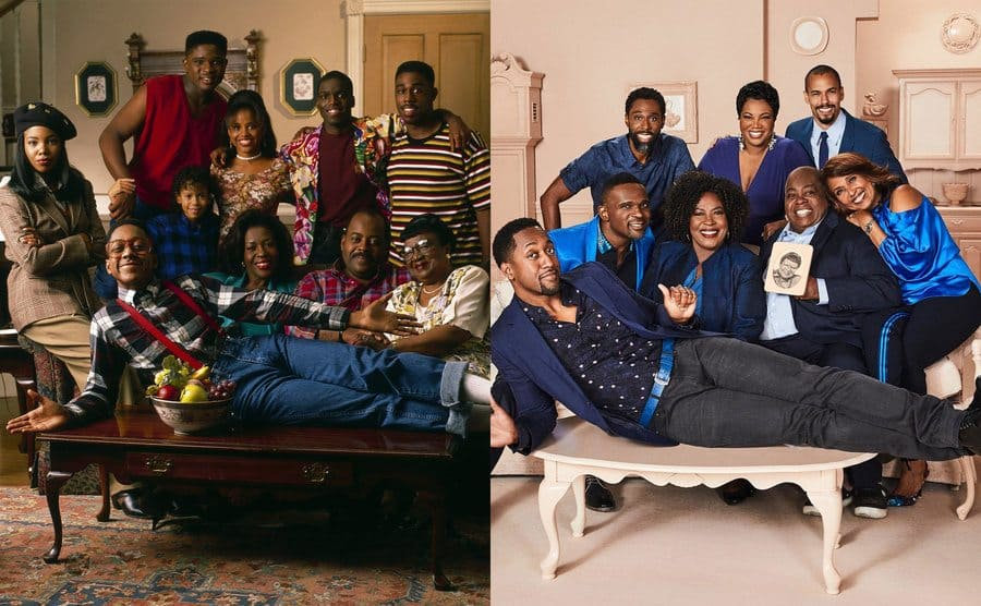 The cast of Family Matters posing around the couch when the show was filming / The cast of Family Matters posing today in the same way around a couch with Jaleel White lying across the coffee table