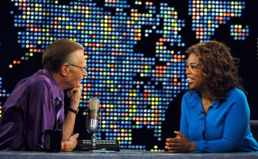 Larry King interviewing Oprah Winfrey on Larry King Live