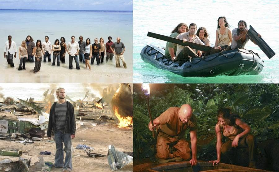"""The cast of """"Lost"""" standing with their legs in the ocean / Dominic Monaghan standing between the airplane's ruins while looking up / Jorge Garcia, Matthew Fox, Evangeline Lilly, Yunjin Kim and Naveen Andrews sitting in a rubber lifeboat / Terry O'Quinn holding a torch in his hand and Evangeline Lilly leaning towards a hole in the ground"""