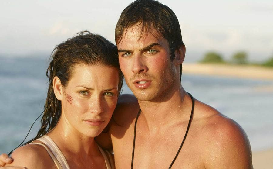A close up of Evangeline Lilly with a scratch on her face and Ian Somerhalder