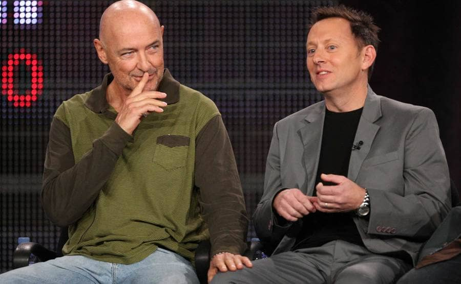 Terry O'Quinn and Michael Emerson speak speaking on stage.